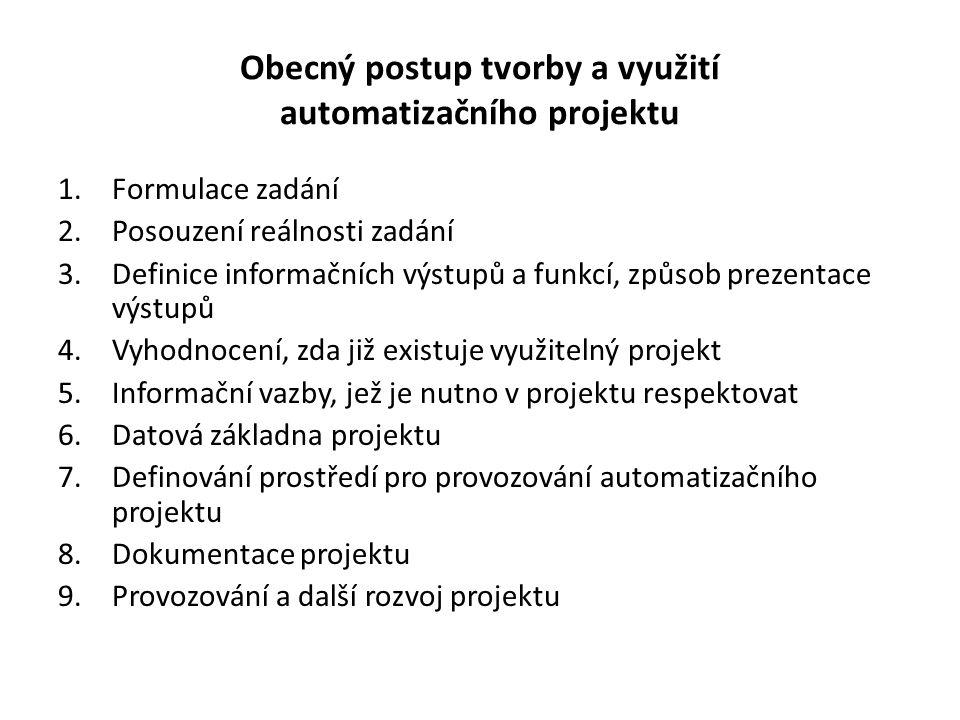 Obecný postup tvorby a využití automatizačního projektu