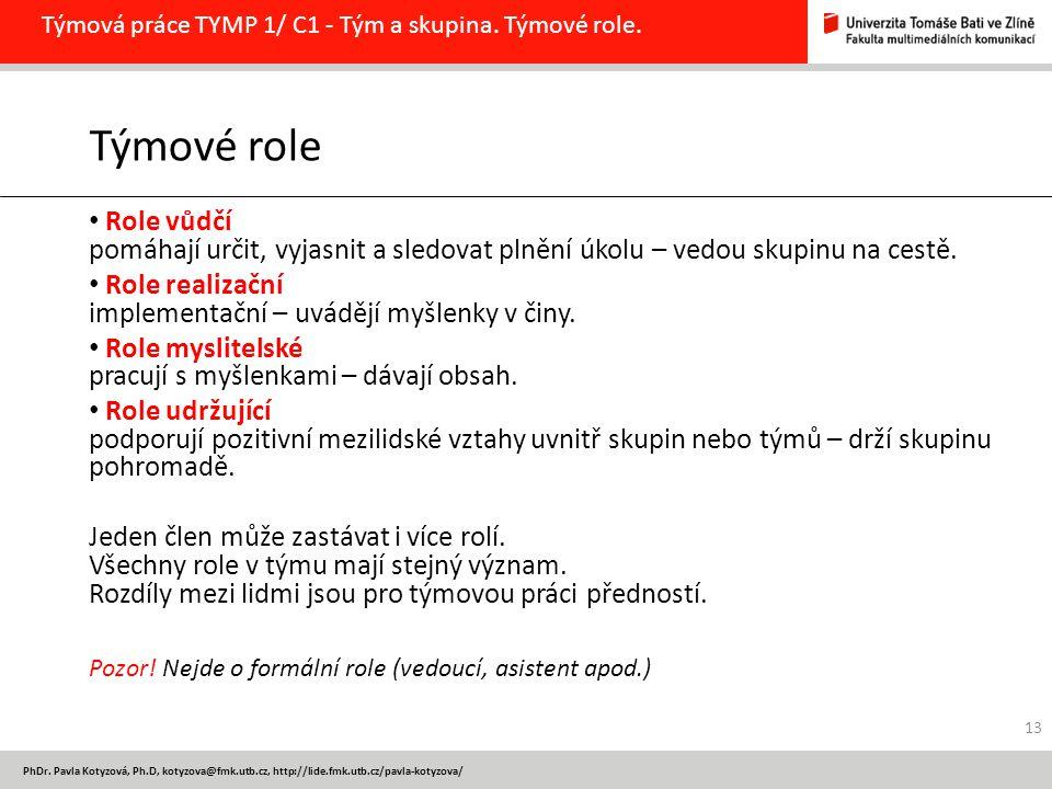 Týmová práce TYMP 1/ C1 - Tým a skupina. Týmové role.