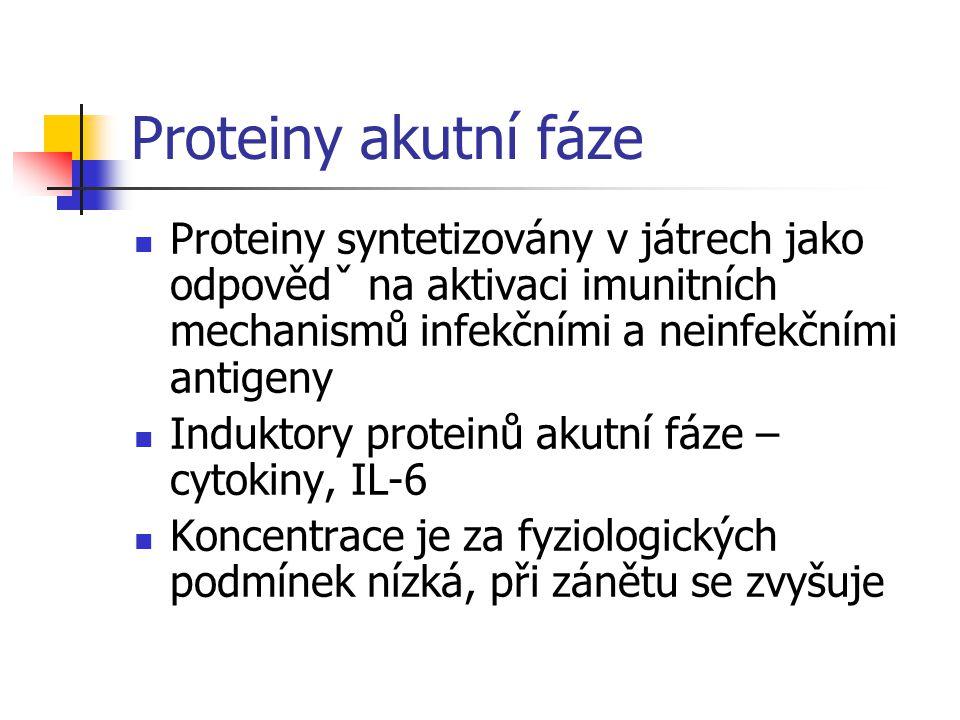 Proteiny akutní fáze Proteiny syntetizovány v játrech jako odpovědˇ na aktivaci imunitních mechanismů infekčními a neinfekčními antigeny.