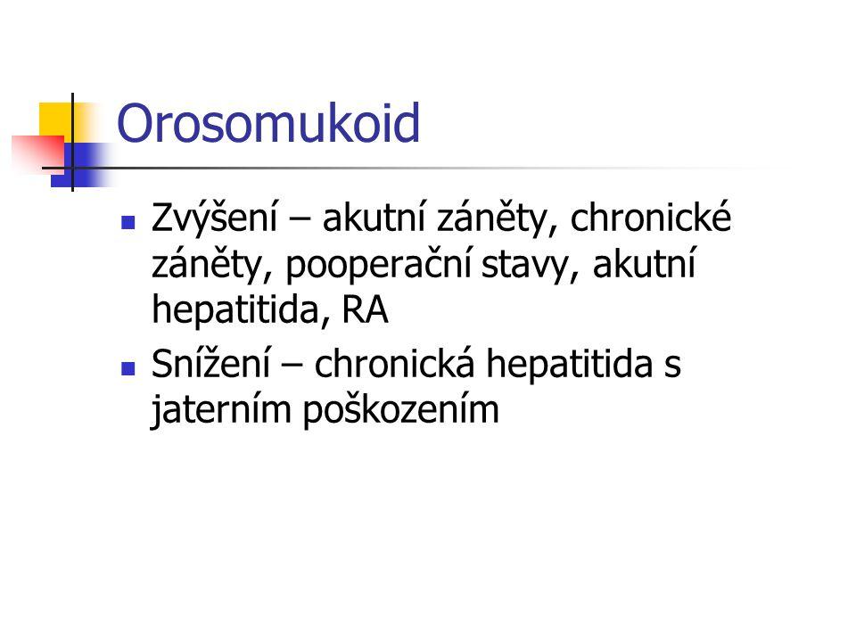 Orosomukoid Zvýšení – akutní záněty, chronické záněty, pooperační stavy, akutní hepatitida, RA.