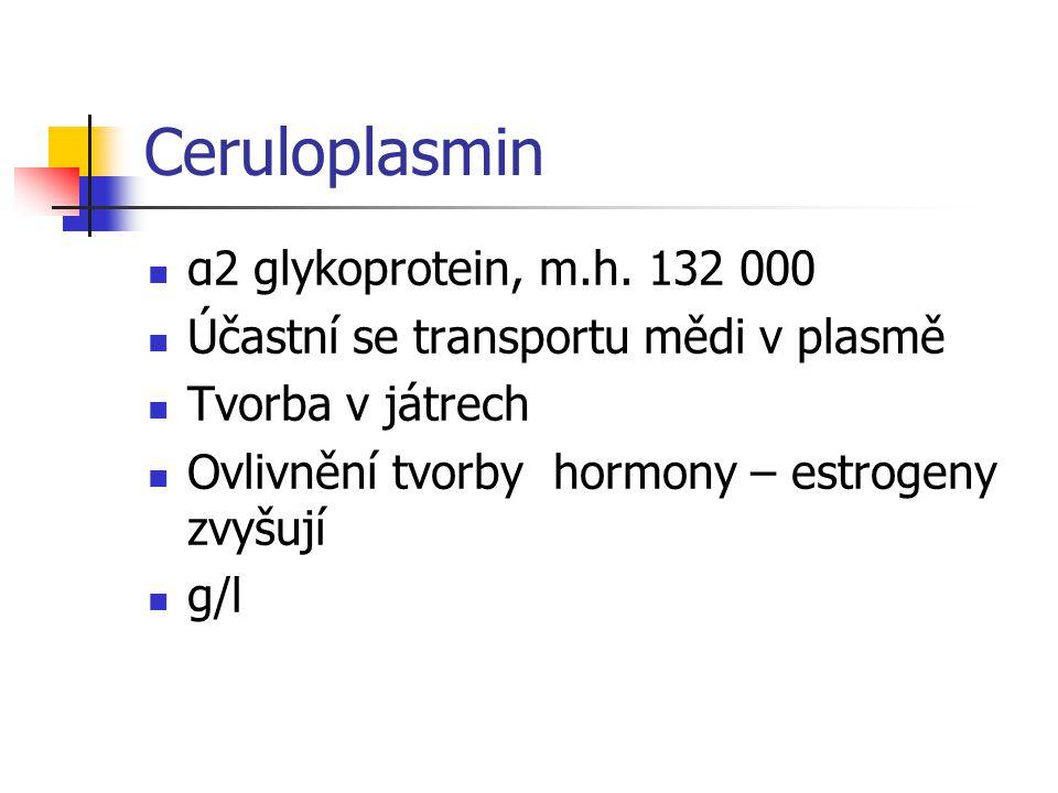 Ceruloplasmin α2 glykoprotein, m.h. 132 000