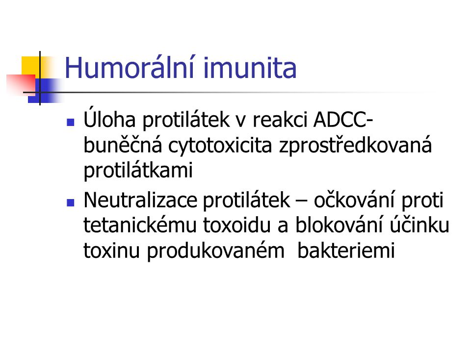 Humorální imunita Úloha protilátek v reakci ADCC- buněčná cytotoxicita zprostředkovaná protilátkami.