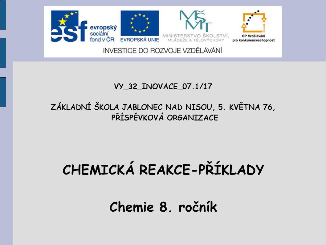 CHEMICKÁ REAKCE-PŘÍKLADY Chemie 8. ročník