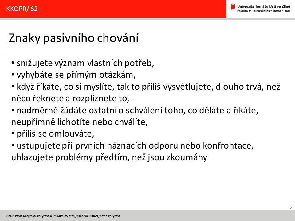 Znaky pasivního chování