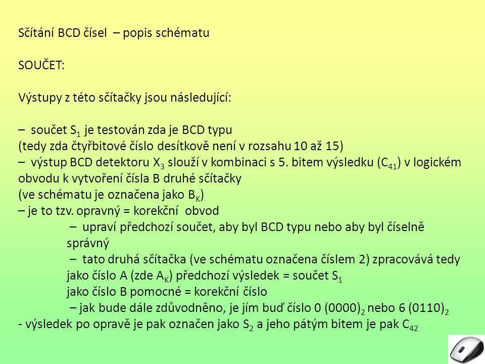 Sčítání BCD čísel – popis schématu