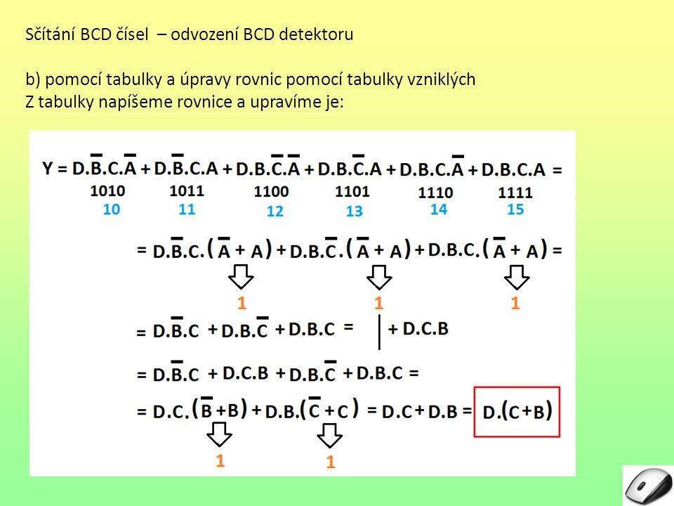 Sčítání BCD čísel – odvození BCD detektoru