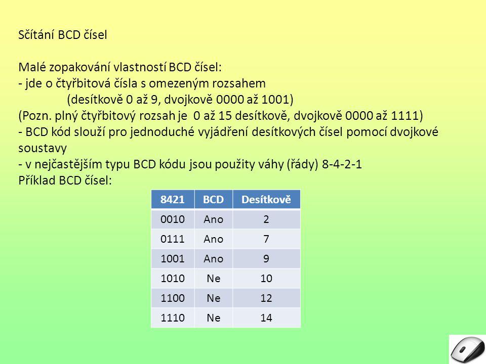 Malé zopakování vlastností BCD čísel: