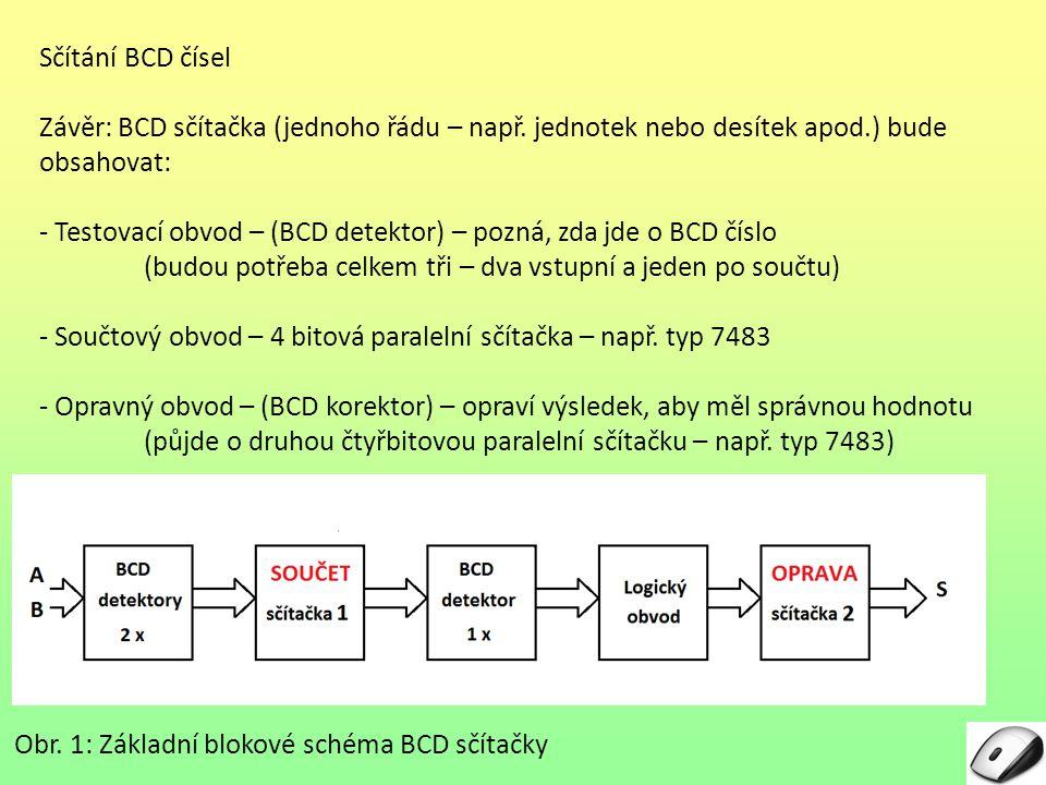 Sčítání BCD čísel Závěr: BCD sčítačka (jednoho řádu – např. jednotek nebo desítek apod.) bude obsahovat: