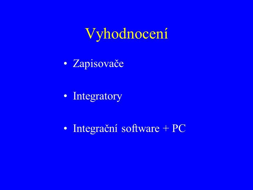 Vyhodnocení Zapisovače Integratory Integrační software + PC