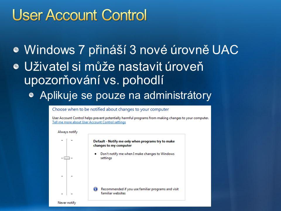 User Account Control Windows 7 přináší 3 nové úrovně UAC