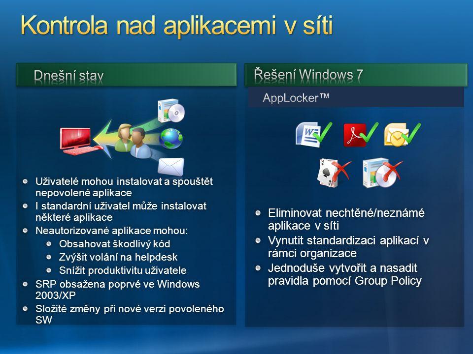 Kontrola nad aplikacemi v síti