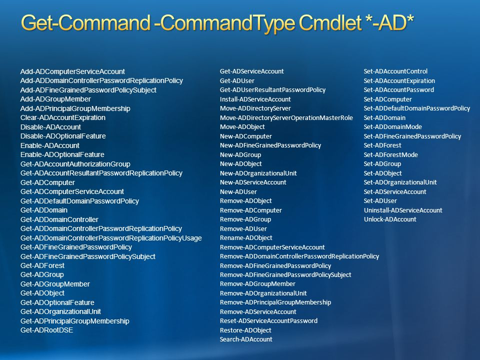 Get-Command -CommandType Cmdlet *-AD*