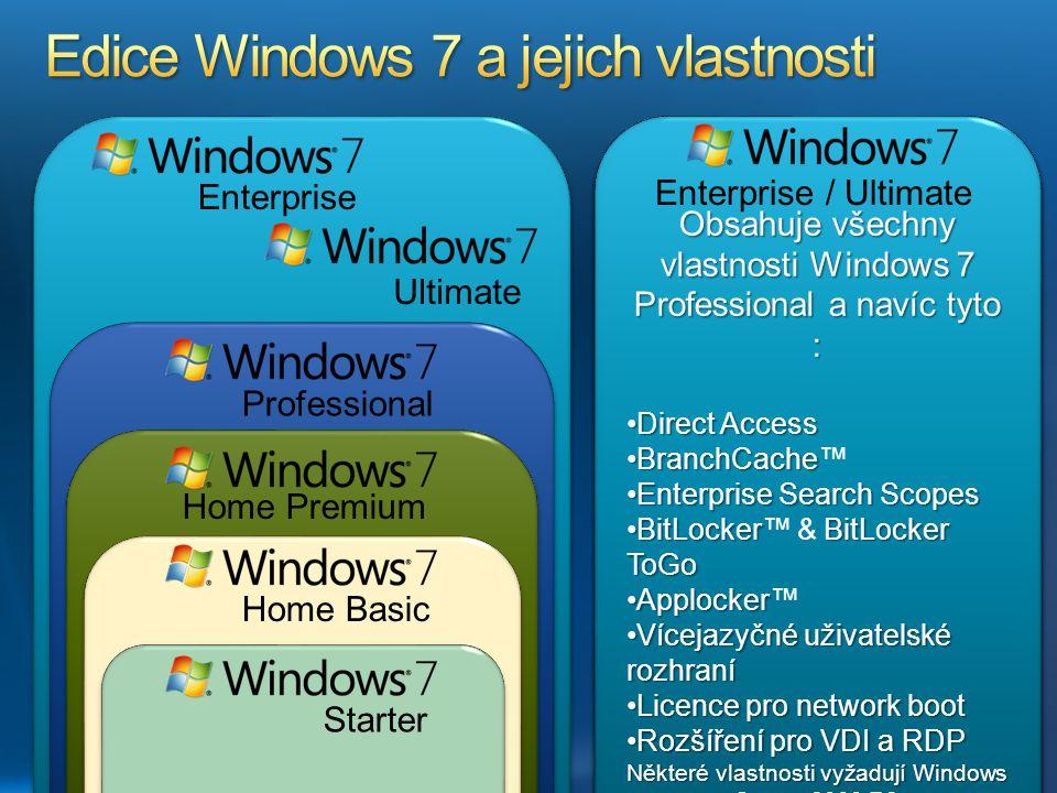 Edice Windows 7 a jejich vlastnosti