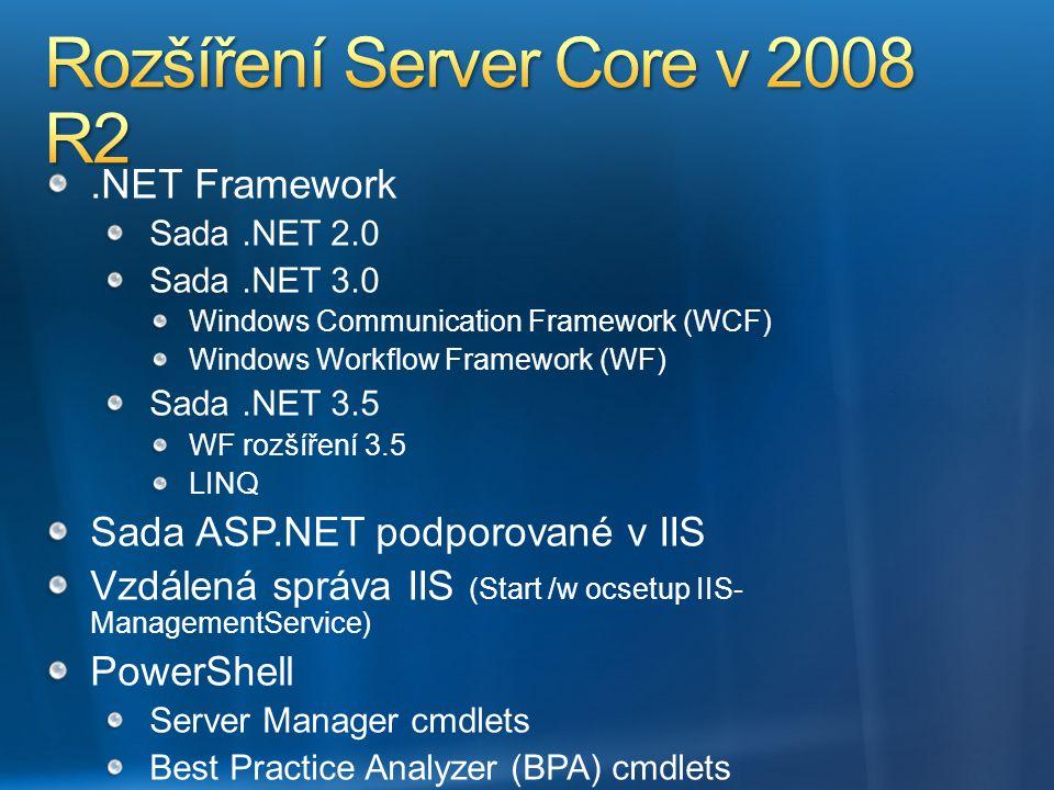Rozšíření Server Core v 2008 R2