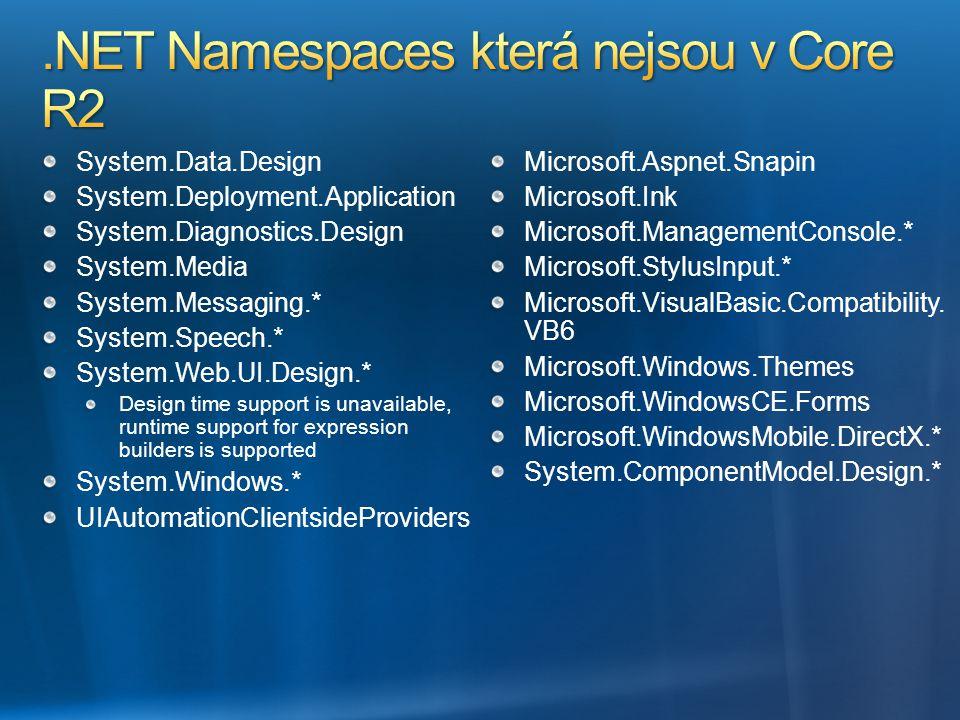 .NET Namespaces která nejsou v Core R2