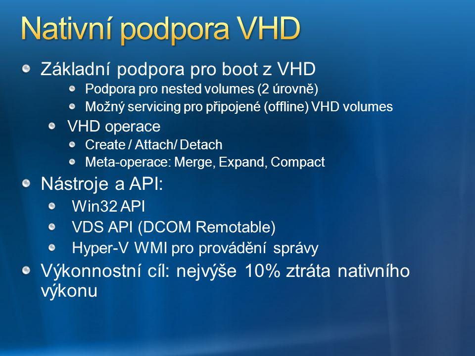 Nativní podpora VHD Základní podpora pro boot z VHD Nástroje a API: