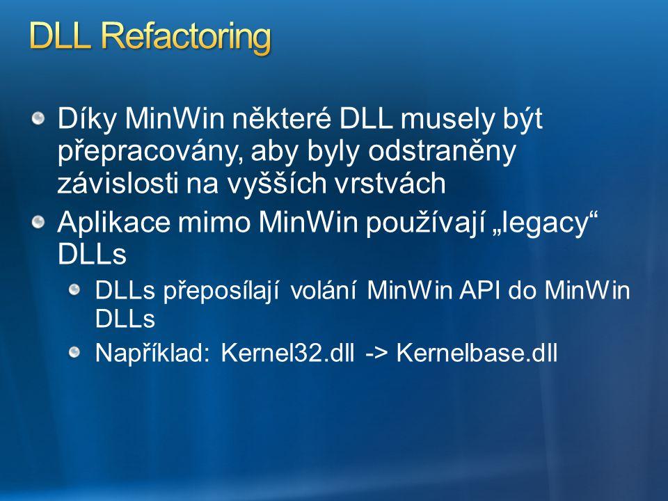 DLL Refactoring Díky MinWin některé DLL musely být přepracovány, aby byly odstraněny závislosti na vyšších vrstvách.