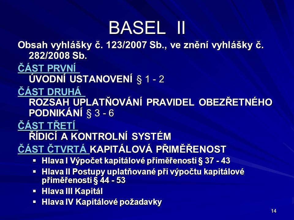 BASEL II Obsah vyhlášky č. 123/2007 Sb., ve znění vyhlášky č. 282/2008 Sb. ČÁST PRVNÍ ÚVODNÍ USTANOVENÍ § 1 - 2.