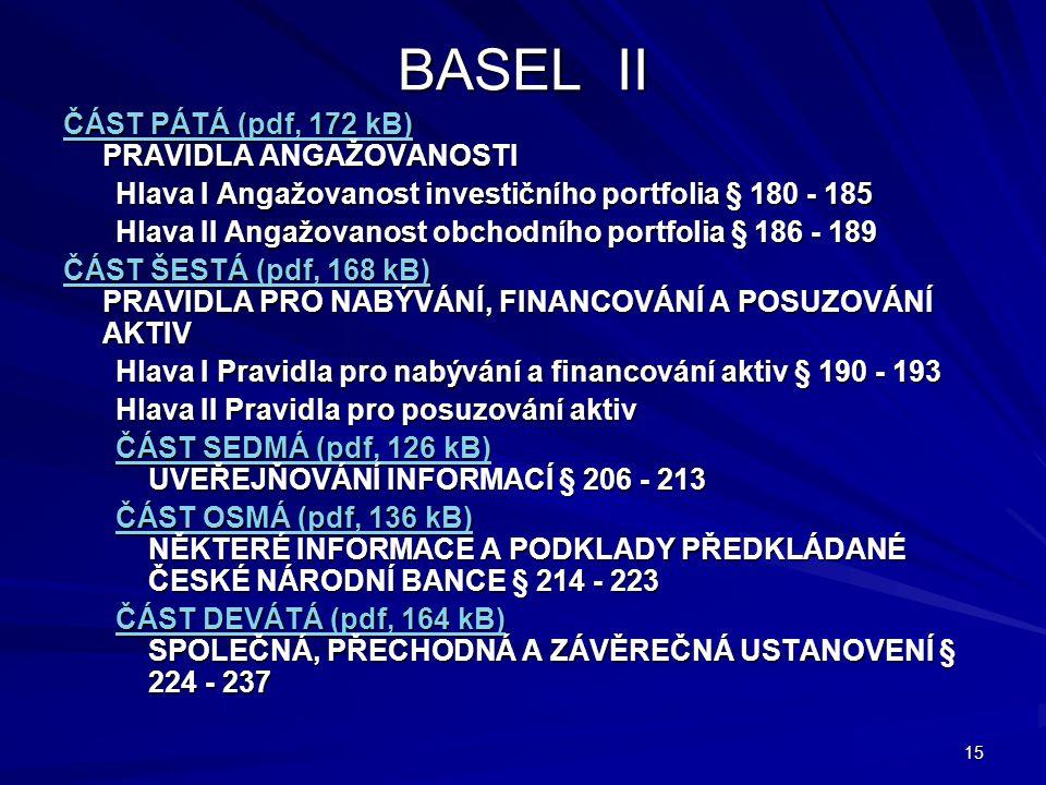 BASEL II ČÁST PÁTÁ (pdf, 172 kB) PRAVIDLA ANGAŽOVANOSTI