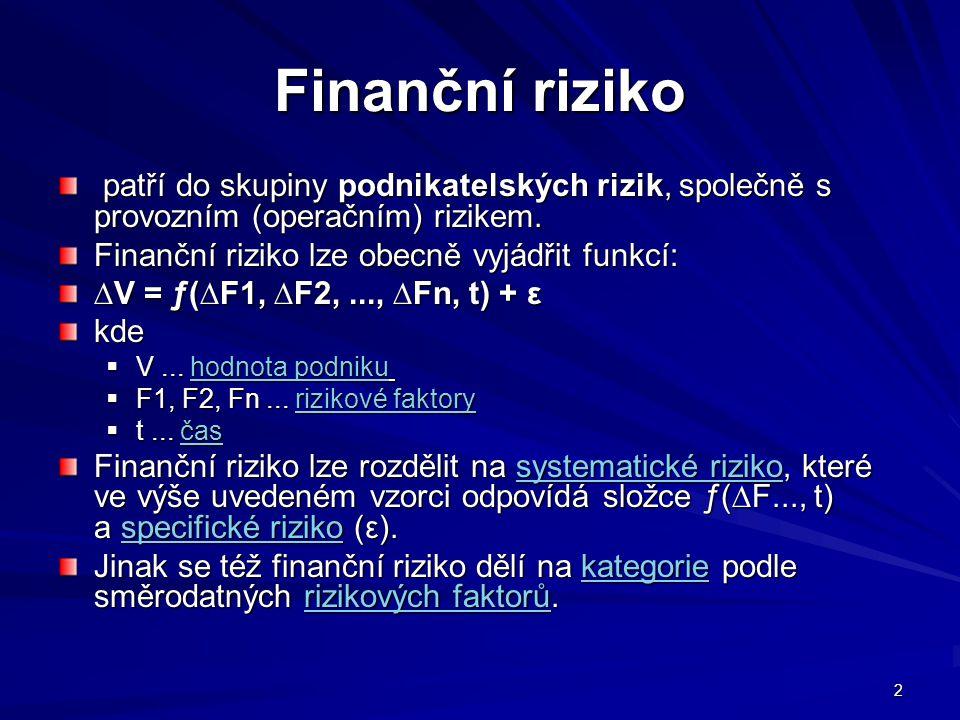 Finanční riziko patří do skupiny podnikatelských rizik, společně s provozním (operačním) rizikem. Finanční riziko lze obecně vyjádřit funkcí: