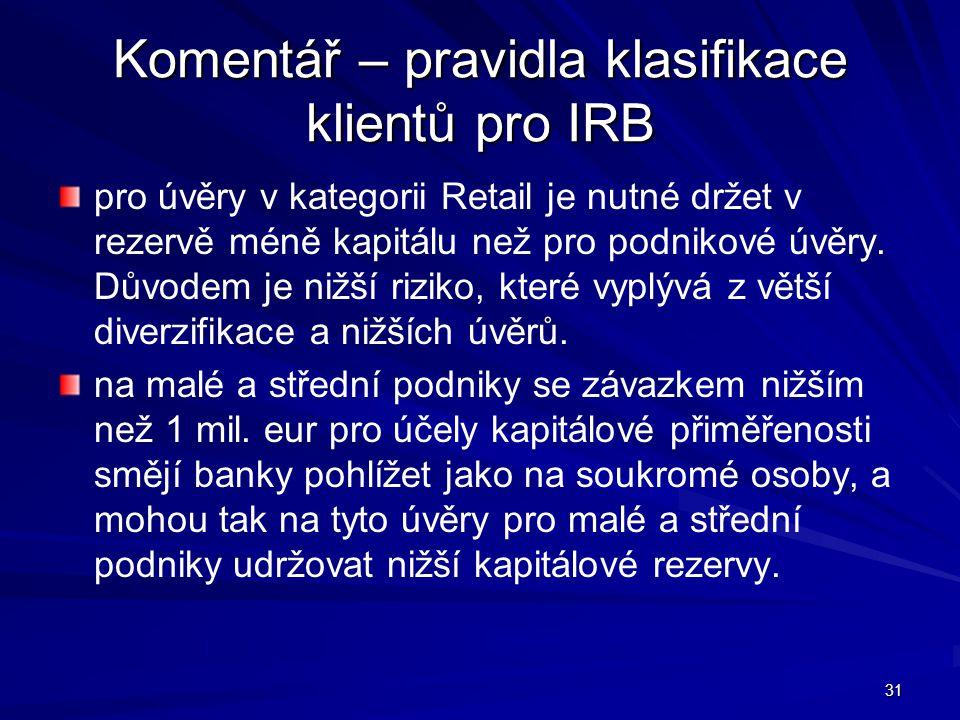 Komentář – pravidla klasifikace klientů pro IRB