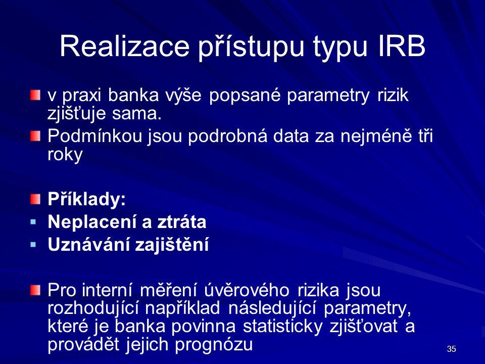 Realizace přístupu typu IRB