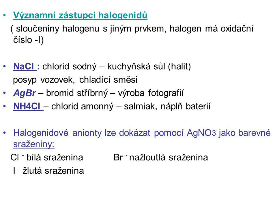 Významní zástupci halogenidů