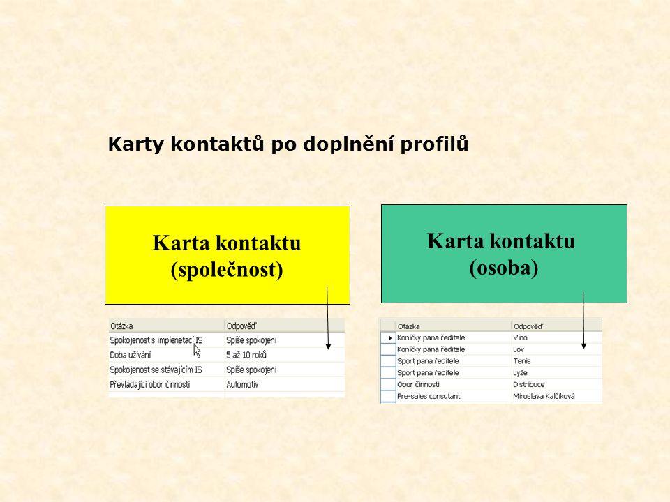 Karty kontaktů po doplnění profilů