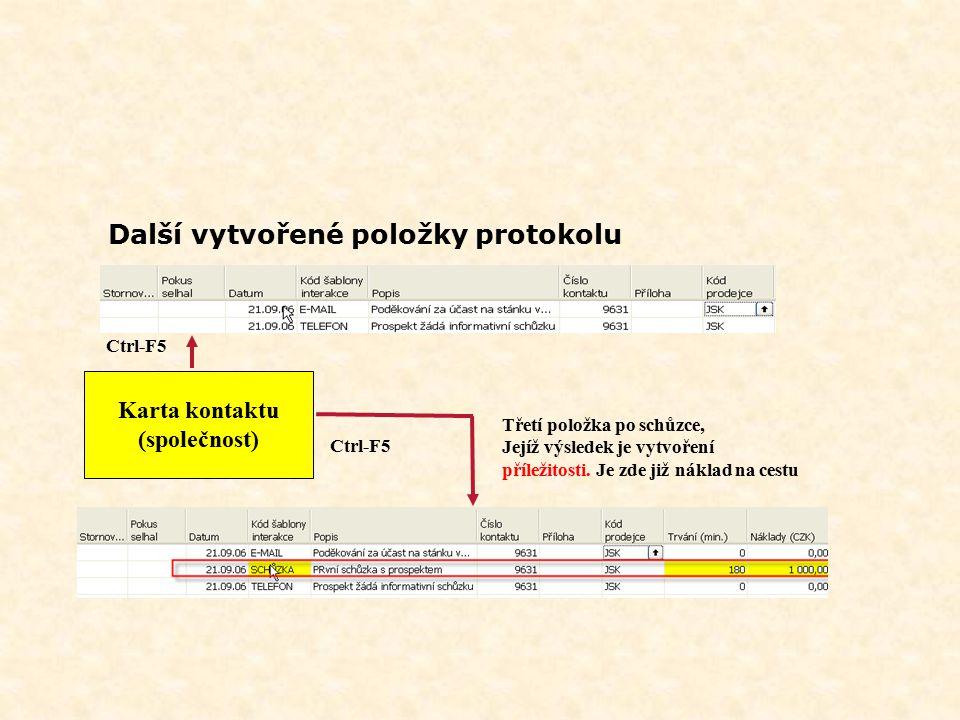 Další vytvořené položky protokolu