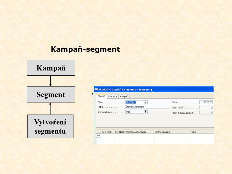 Kampaň Segment Vytvoření segmentu