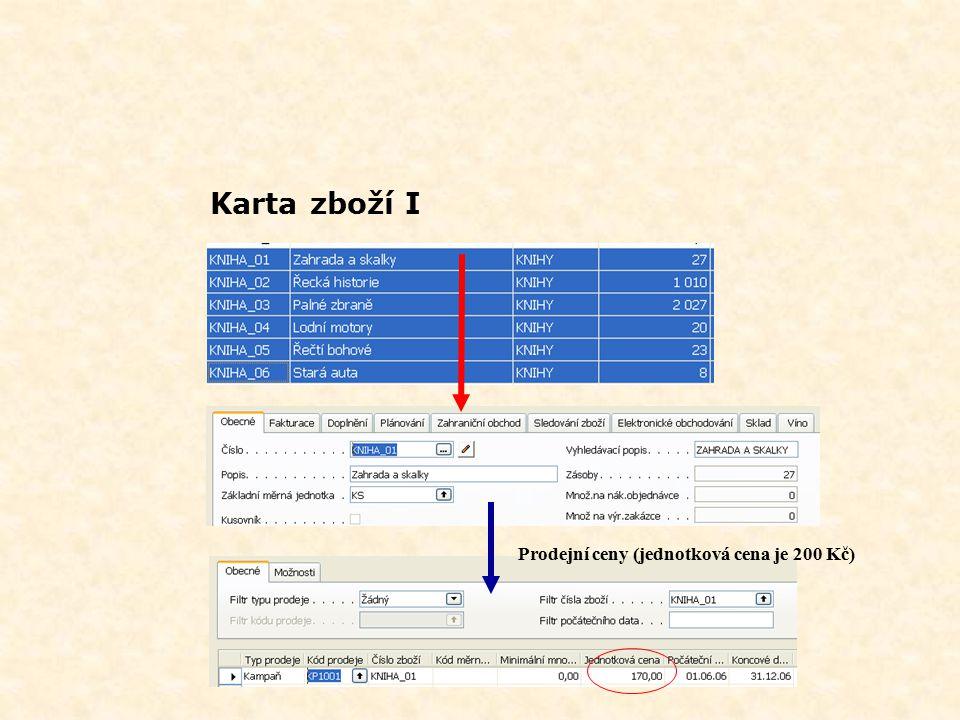 Karta zboží I Prodejní ceny (jednotková cena je 200 Kč)