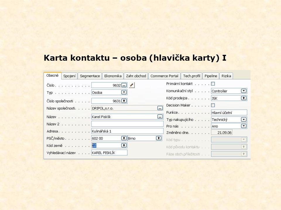 Karta kontaktu – osoba (hlavička karty) I