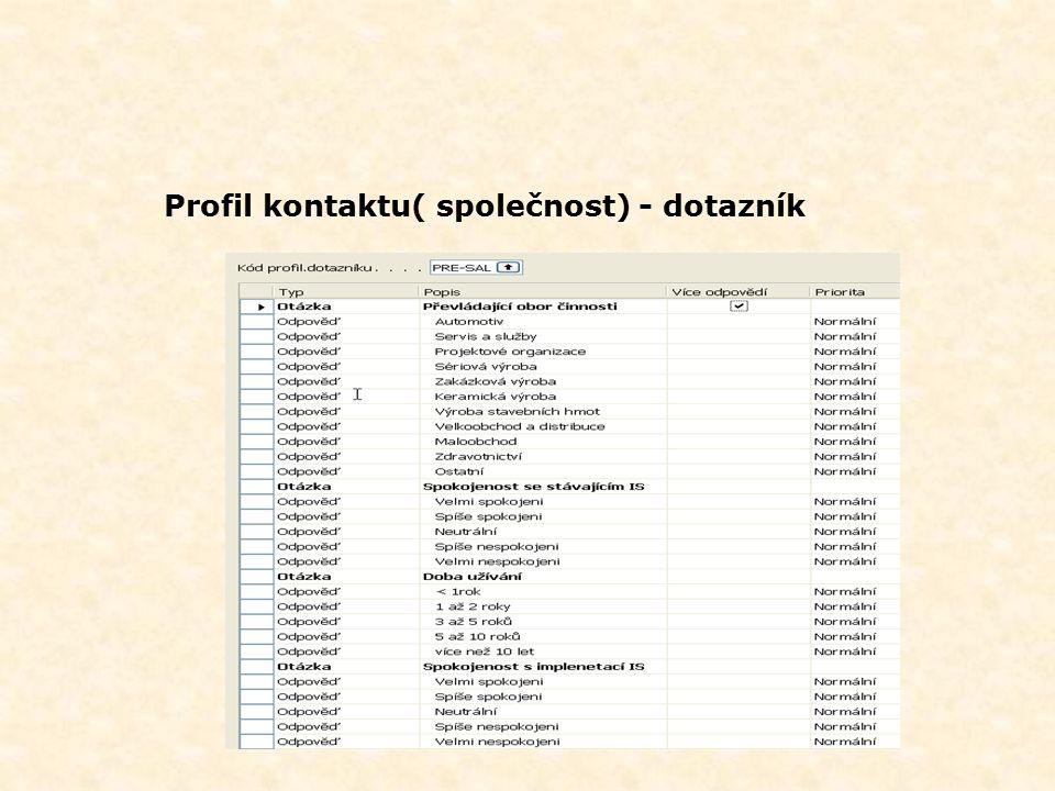 Profil kontaktu( společnost) - dotazník