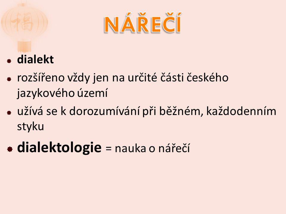 NÁŘEČÍ dialektologie = nauka o nářečí dialekt