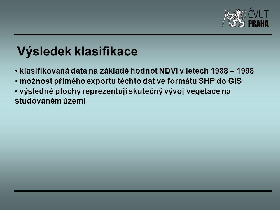 Výsledek klasifikace klasifikovaná data na základě hodnot NDVI v letech 1988 – 1998. možnost přímého exportu těchto dat ve formátu SHP do GIS.