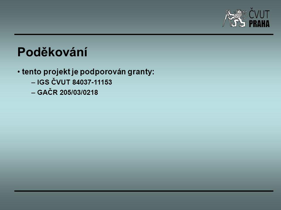 Poděkování tento projekt je podporován granty: IGS ČVUT 84037-11153