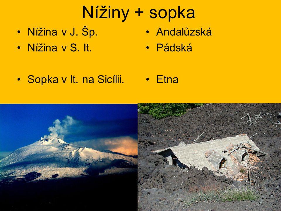 Nížiny + sopka Nížina v J. Šp. Nížina v S. It. Sopka v It. na Sicílii.