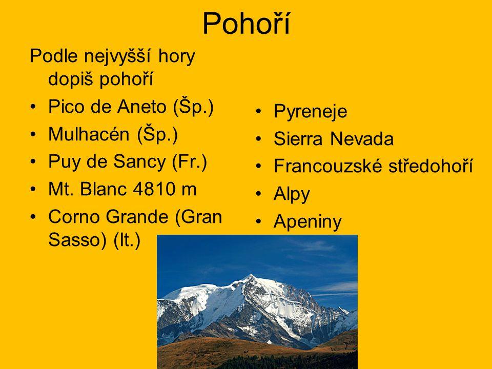 Pohoří Podle nejvyšší hory dopiš pohoří Pico de Aneto (Šp.) Pyreneje