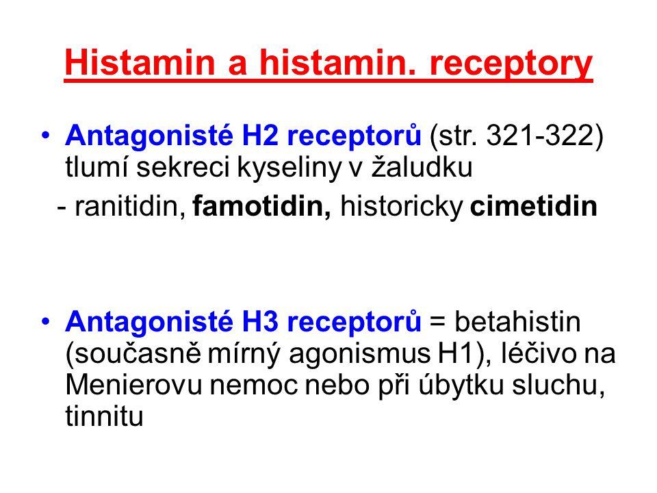 Histamin a histamin. receptory