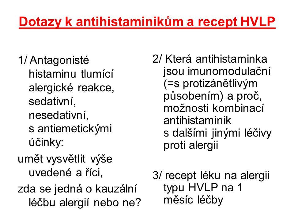 Dotazy k antihistaminikům a recept HVLP