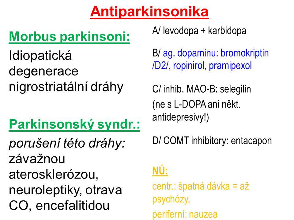 Antiparkinsonika A/ levodopa + karbidopa. B/ ag. dopaminu: bromokriptin /D2/, ropinirol, pramipexol.
