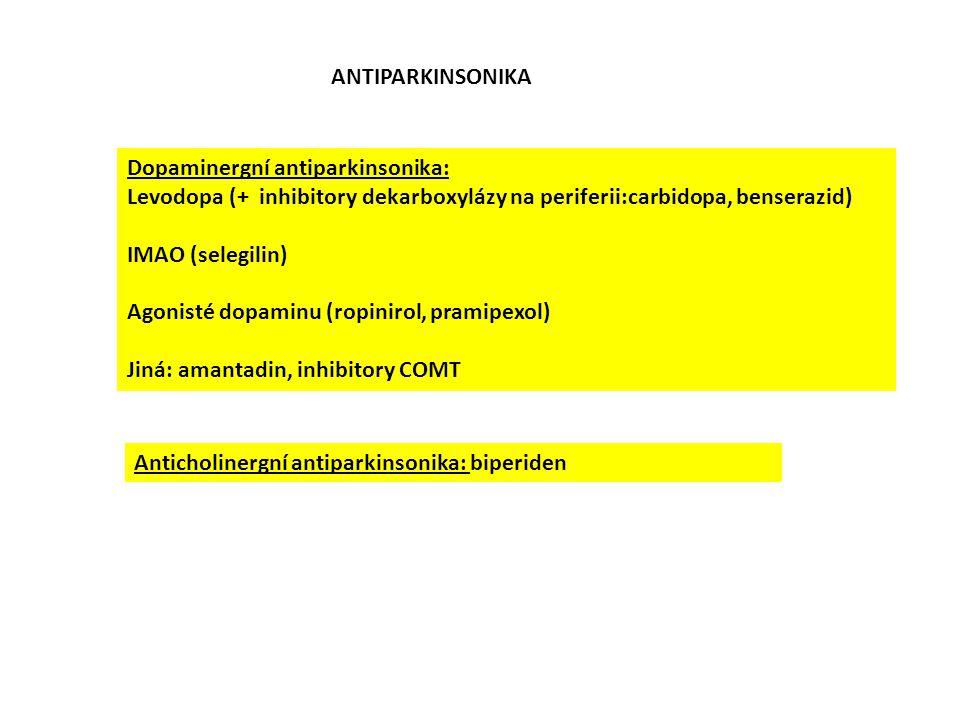 ANTIPARKINSONIKA Dopaminergní antiparkinsonika: Levodopa (+ inhibitory dekarboxylázy na periferii:carbidopa, benserazid)