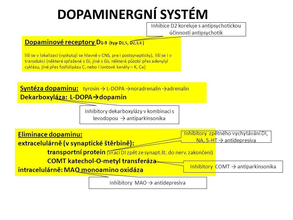 DOPAMINERGNÍ SYSTÉM Dopaminové receptory D1-5 (typ D1,5, D2,3,4 )