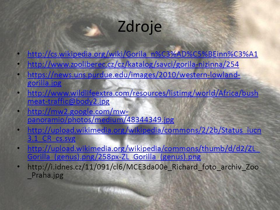 Zdroje http://cs.wikipedia.org/wiki/Gorila_n%C3%AD%C5%BEinn%C3%A1