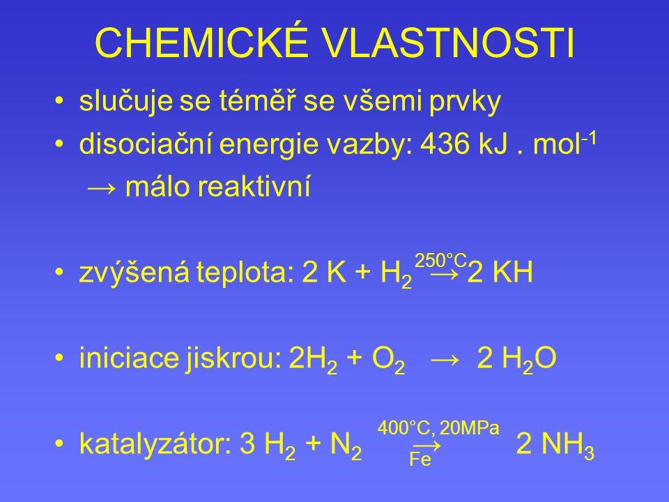 CHEMICKÉ VLASTNOSTI slučuje se téměř se všemi prvky