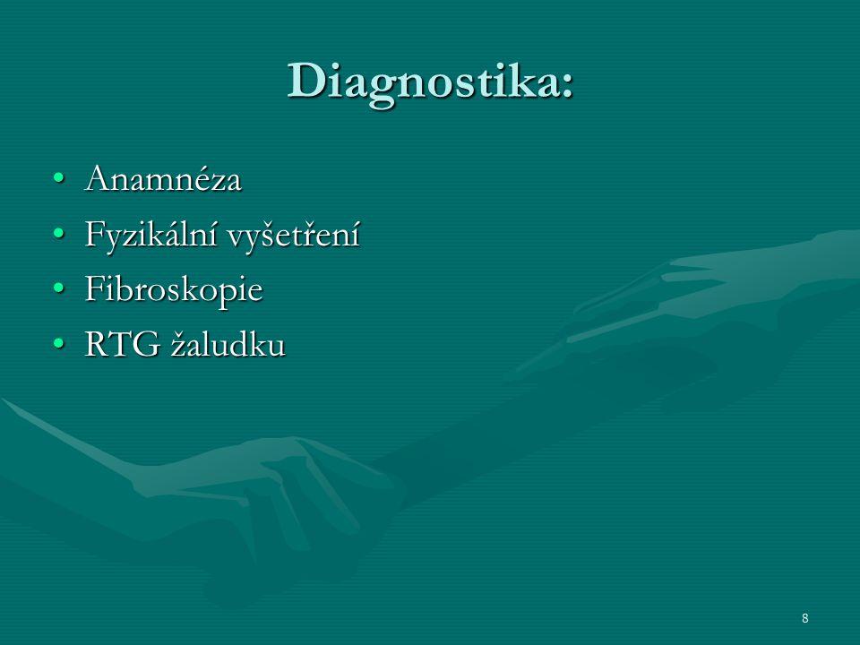 Diagnostika: Anamnéza Fyzikální vyšetření Fibroskopie RTG žaludku