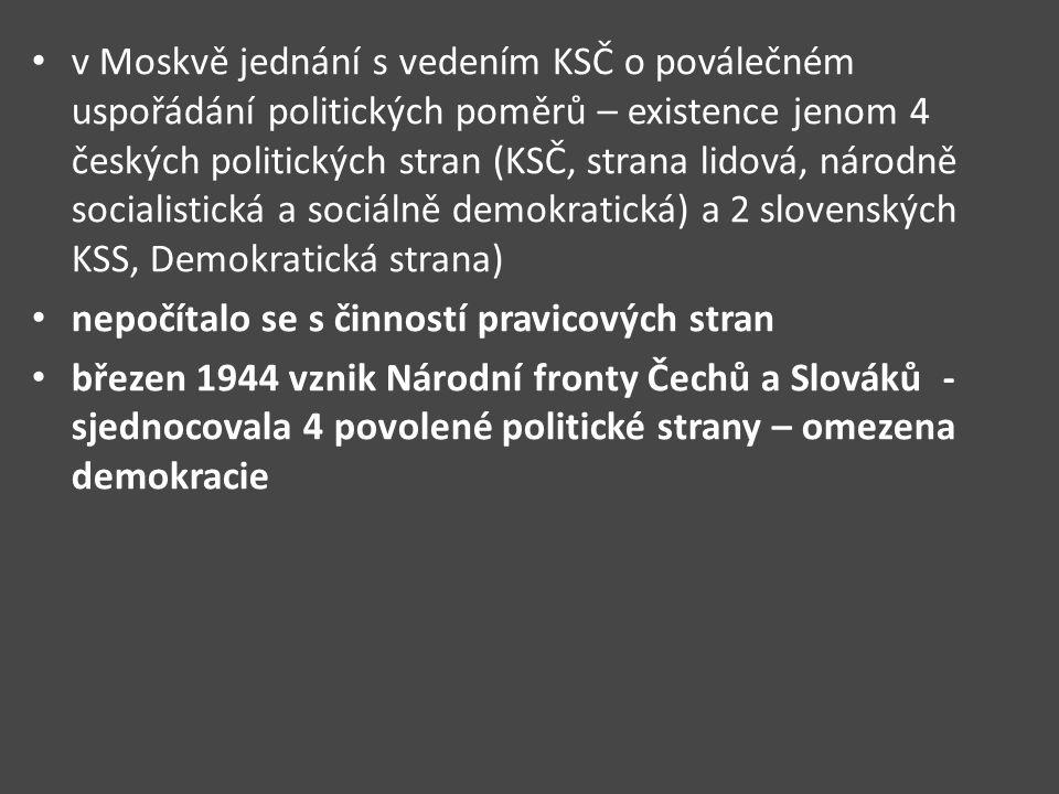 v Moskvě jednání s vedením KSČ o poválečném uspořádání politických poměrů – existence jenom 4 českých politických stran (KSČ, strana lidová, národně socialistická a sociálně demokratická) a 2 slovenských KSS, Demokratická strana)