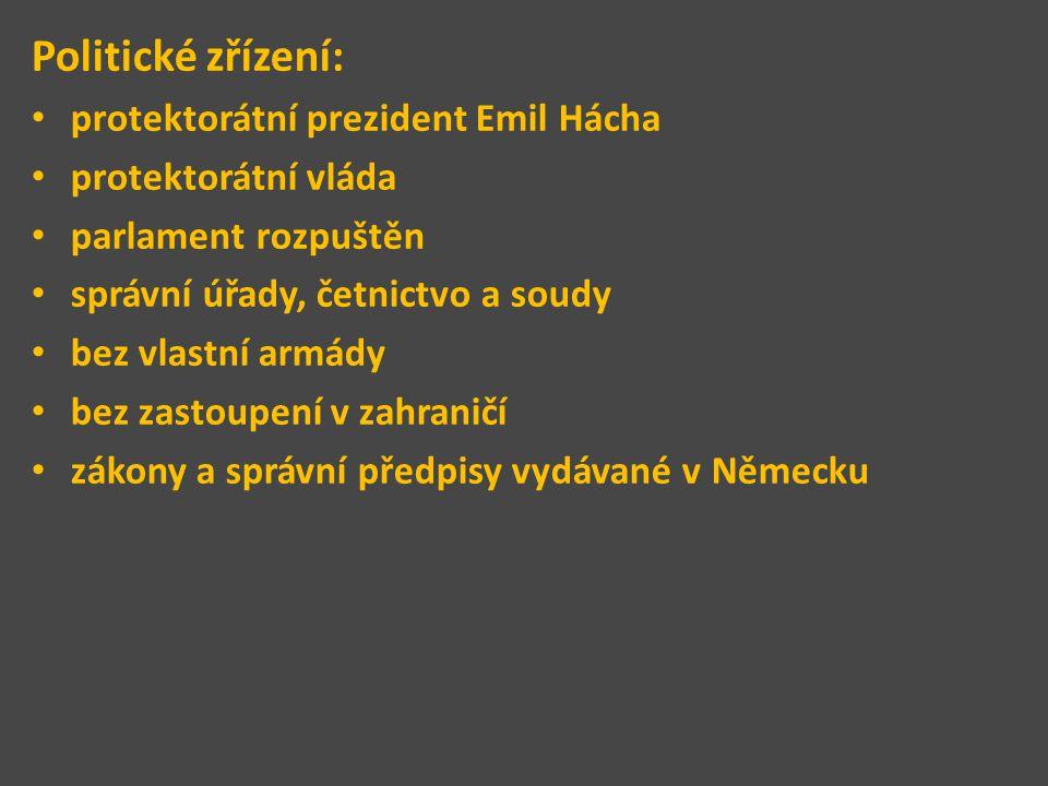 Politické zřízení: protektorátní prezident Emil Hácha