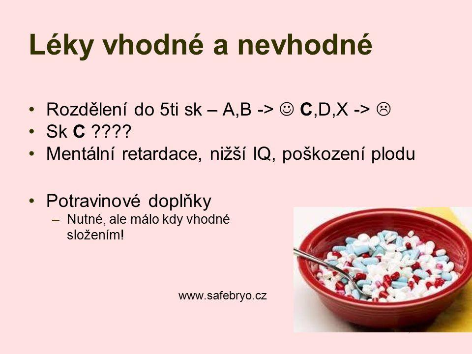 Léky vhodné a nevhodné Rozdělení do 5ti sk – A,B ->  C,D,X -> 