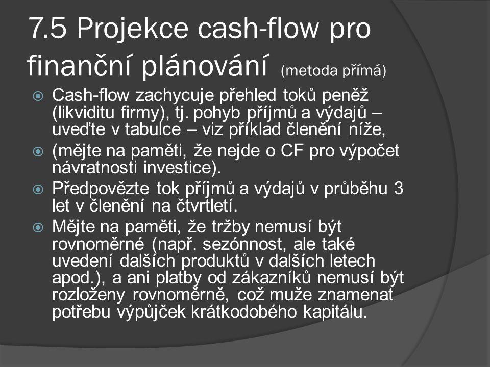 7.5 Projekce cash-flow pro finanční plánování (metoda přímá)